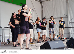 Canadian vocal group Retrocity perform in David Pecault Square, Toronto.