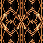 Computer altered abstract of decorative Art Deco bronze metalwork.<br />