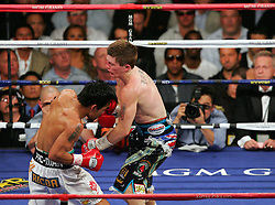 Manny Pacquiao knocks out Ricky Hatton in the second round of their Light Welterweight title fight at the MGM Grand, Las Vegas , Nevada, 2nd May 2009.