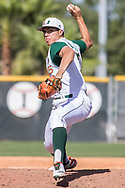Right handed pitcher for the University of Miami, Andrew Cabezas faces batters from the University of Florida during the 9th inning of a NCAA baseball game at Alex Rodriguez Park in Miami, Florida, Sunday, February 25, 2018.