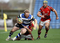 Bath's Ross Batty is tackled - Photo mandatory by-line: Robbie Stephenson/JMP - Mobile: 07966 386802 - 29/03/2015 - SPORT - Rugby - Oxford - Kassam Stadium - London Welsh v Bath Rugby - Aviva Premiership
