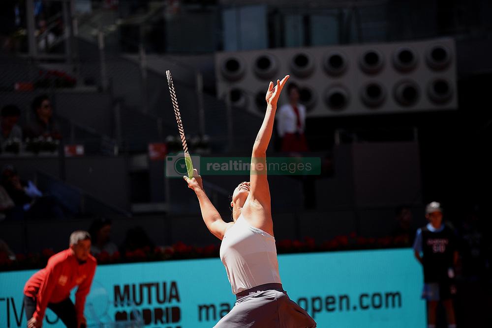 May 4, 2019 - Madrid, Spain - Aryna Sabalenka of Belarus in action against Svetlana Kuznetsova of Russia during day one of the Mutua Madrid Open at La Caja Magica in Madrid on 4th May, 2019. (Credit Image: © Juan Carlos Lucas/NurPhoto via ZUMA Press)