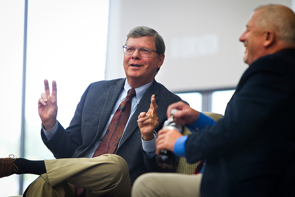 """Political analyst Charlie Sykes, left, speaks on the panel """"How should the Right in Wisconsin navigate the Trump era?"""" at the Cap Times 2017 Idea Fest, Sunday, September 17, 2017"""