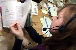 Lisa Symes giving advice to a student on the phone at The University of Greenwhich during clearing day, August 18, 2000. Photo by Andrew Parsons/i-Images..