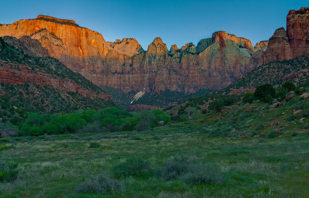 West Temple at sunrise, Zion National Park, Utah