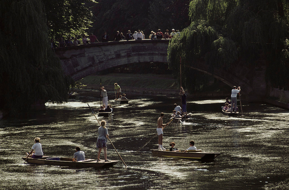 Punting on the River Thames in Oxford, England..