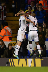 19.09.2013, White Hart Lane, London, ENG, UEFA Champions League, Tottenham Hotspur vs Toromsoe IL, Gruppe K, im Bild Tottenham's Lewis Holtby and Tottenham's Jermain Defoe celebrate Defoe scoring a goal during UEFA Champions League group K match between Tottenham Hotspur vs Toromsoe IL at the White Hart Lane, London, United Kingdom on 2013/09/19 . EXPA Pictures © 2013, PhotoCredit: EXPA/ Mitchell Gunn <br /> <br /> ***** ATTENTION - OUT OF GBR *****