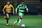 Forest Green Rovers Tahvon Campbell(14) runs forward during the EFL Sky Bet League 2 match between Cambridge United and Forest Green Rovers at the Cambs Glass Stadium, Cambridge, England on 2 October 2018.
