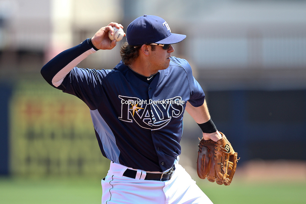 March 20, 2011; Port Charlotte, FL, USA; Tampa Bay Rays third baseman Evan Longoria (3) against the Baltimore Orioles during a spring training exhibition game at Charlotte Sports Park.   Mandatory Credit: Derick E. Hingle
