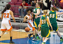 South Charleston guard Brianna Moore (31) looses the ball in the lane against Greenbrier East during a first round game at the Charleston Civic Center.