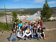 Pin Oak eighth-graders at Grand Prismatic Spring.