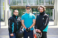 Deliveroo riders l-r, Tristan Harding, Brendan Tait, and, Alastair Halward
