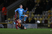 Jake Doyle-Hayes jumps over a tackle  during the EFL Sky Bet League 2 match between Bradford City and Cheltenham Town at the Utilita Energy Stadium, Bradford, England on 28 January 2020.