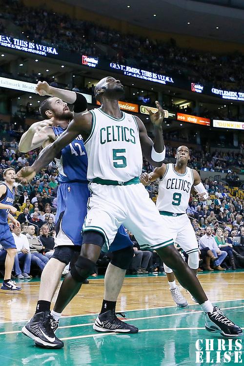 05 December 2012: Boston Celtics power forward Kevin Garnett (5) vies for the rebound with Minnesota Timberwolves power forward Kevin Love (42) during the Boston Celtics 104-94 victory over the Minnesota Timberwolves at the TD Garden, Boston, Massachusetts, USA.