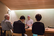 Chef Ryota Ueshima behind the bar at Kajitsu, 125 E. 39th St., New York.