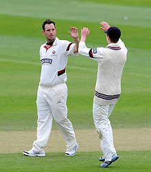 Somerset's Jim Allenby and Tom Abell celebrate the wicket of New Zealand's Ross Taylor. Photo mandatory by-line: Harry Trump/JMP - Mobile: 07966 386802 - 10/05/15 - SPORT - CRICKET - Somerset v New Zealand - Day 3- The County Ground, Taunton, England.