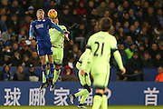 Manchester City defender Nicolas Otamendi  beats Leicester City forward Jamie Vardy in the air during the Barclays Premier League match between Leicester City and Manchester City at the King Power Stadium, Leicester, England on 29 December 2015. Photo by Simon Davies.