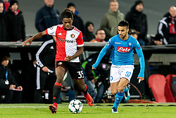 (L-R) Tyrell Malacia of Feyenoord, Adam Ounas of SSC Napoli during the UEFA Champions League group F match between Feyenoord Rotterdam and SSC Napoli at the Kuip on December 06, 2017 in Rotterdam, The Netherlands