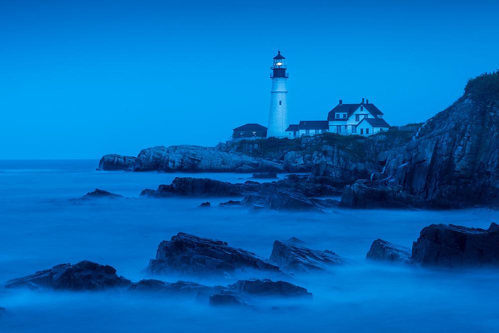 Blue hour long exposure of Portland Head Lighthouse, Portland, Maine