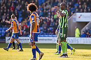 AFC Wimbledon forward Tom Elliott (9)  can't believe his header is ruled out for a foul during the EFL Sky Bet League 1 match between Shrewsbury Town and AFC Wimbledon at Greenhous Meadow, Shrewsbury, England on 18 February 2017. Photo by Simon Davies.