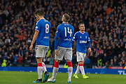 Ryan Kent of Rangers FC looks to the skies after narrowly missing during the Betfred Scottish League Cup semi-final match between Rangers and Heart of Midlothian at Hampden Park, Glasgow, United Kingdom on 3 November 2019.