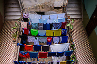 HAVANA, CUBA - CIRCA MAY 2017:  Clothes in a Solar, a typical house in Havana.