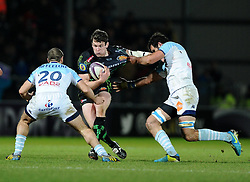 Exeter Chiefs' Right Wing, Ian Whitten is tackled by Bayonne Bastein Duhalde  - Photo mandatory by-line: Joe Meredith/JMP - Mobile: 07966 386802 - 24/01/2015 - SPORT - Rugby - Exeter - Sandy Park Stadium - Exeter Chiefs v Bayonne - Challenge Cup Round 6