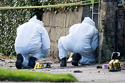 © Licensed to London News Pictures. 26/11/2017. Leeds, UK. Police forensic officers at the scene in Leeds where a crash occurred involving a stolen car. Police say five people have been killed after a stolen car crashed into a tree on Saturday night. Two of the dead are 15 year old boys. The other is aged 12. Two fifteen year olds are in custody.  Photo credit: Andrew McCaren/LNP