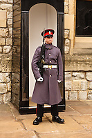 A palace guard stands in front of the building that holds the Crown Jewels at the Tower of London, London, England.
