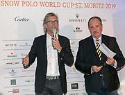 2019, Januari 24. Kulm Hotel, St Moritz. Spelerspresentatie van de Snowpolo World Cup.  Op de foto: Jan-Erik Franck en Reto Gaudenzi