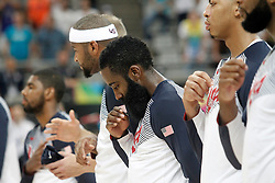 06.09.2014, City Arena, Barcelona, ESP, FIBA WM, USA vs Mexiko, im Bild USA's players listening to the national anthem // during FIBA Basketball World Cup Spain 2014 match between USA and Mexico at the City Arena in Barcelona, Spain on 2014/09/06. EXPA Pictures © 2014, PhotoCredit: EXPA/ Alterphotos/ Acero<br /> <br /> *****ATTENTION - OUT of ESP, SUI*****
