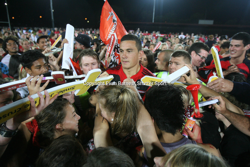 Sonny Bill Williams is mobbed by fans. 11 March 2011, Trafalgar Park, Nelson, New Zealand. Photo: Evan Barnes /  Photosport.