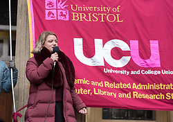 © Licensed to London News Pictures. 26/02/2020. Bristol, UK. University Strike across the UK; JO GRADY General Secretary of University and College (UCU) Union at the rally and march by members of UCU at the University of Bristol. Strikers gather outside the university's Victoria Rooms to march down Bristol's Park Street past the university's Wills Memorial tower. There are two disputes involving UCU members in higher education in the UK. One is about changes to the Universities Superannuation Scheme (USS) and the other is about pay and working conditions including equality, casualisation and workloads. UCU members in 52 institutions in the UK have voted to take strike action and action short of a strike (ASOS) about USS. Members in 70 institutions have voted to take strike action and action short of strike about pay and working conditions. In total, 74 institutions are affected. The strike is taking place over four weeks till March with strike days increasing every week. Union members will also begin 'action short of a strike' which involves things like working strictly to contract, not covering for absent colleagues and refusing to reschedule lectures lost to strike action. Photo credit: Simon Chapman/LNP.