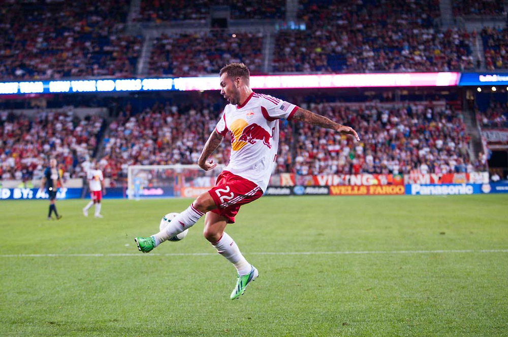 HARRISON, NJ - AUGUST 17:  Jonny Steele #22  of New York Red Bulls in action during the game against the Philadelphia Union at Red Bulls Arena on August 17, 2013. (Photo By: Rob Tringali)