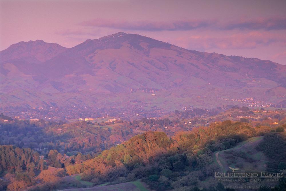 Sunset light on clouds above Mt. Diablo from the Orinda / Berkeley Hills, CALIFORNIA
