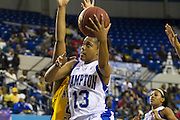 "Hampton forward Keiara Avant (13) had 23 points and 12 rebounds during the Hampton - Norfolk State ""Battle of the Bay"" NCAA basketball game played at the Hampton Convocation Center in Hampton, Virginia.  Hampton beat NSU 83-42.  February 18, 2013  (Photo by Mark W. Sutton)"