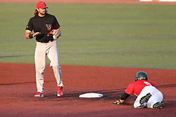 14 August 2015: Austin Wobrock & Jason Merjano during a Frontier League Baseball game between the Washington Wild Things and the Normal CornBelters at Corn Crib Stadium on the campus of Heartland Community College in Normal Illinois