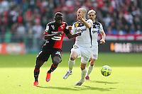 Paul Georges NTEP / Lionel MATHIS - 12.04.2015 - Rennes / Guingamp - 32eme journee de Ligue 1 <br /> Photo : Vincent Michel / Icon Sport