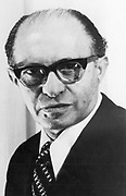 Menachem Begin (1913-1992) Polish-born Israeli statesman; shared Nobel peace prize with Sadat (1973). Photograph courtesy of The Nobel Foundation
