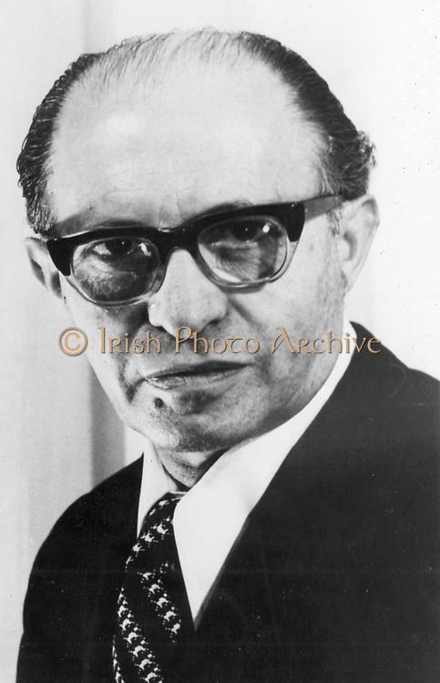 Menachem Begin (1913-1992) Polish-born Israeli statesman; shared Nobel peace prize with Sadat (1973). Photograph courtesy of The Nobel Foundation