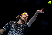 Stefanos Tsitsipas of Greece serves during the Nitto ATP finals at the O2 Arena, London, United Kingdom on 17 November 2019.