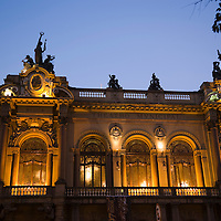 Teatro Municipal illuminated at dusk, Sao Paulo, Brazil