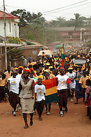 Ghana, Accra, 2007. The entire student body of Kwameh Nkrumah Memorial School marches around the neighborhood on March 5th.