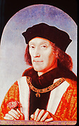 Henry VII (1457-1509) first Tudor king of England from 1485.  Defeated Richard III at Bosworth Field on 22 August 1485, the battle which ended the Wars of the Roses.   1505 portrait by Michiel Sittow (1458-1525).