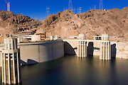 USA, Arizona and Nevada. The Hoover Dam impounds the Colorado River to create Lake Mead.