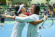 INOWROCLAW, POLAND - 2016 APRIL 17: (L) Ching-Wen Hsu and Ya-Hsuan Lee both of Chinese Taipei celebrates victory at fourth women's singles during the Fed Cup / World Group Play Off round tennis match between Poland and Chinese Taipei at OSiR Hall on April 17, 2016 in Inowroclaw, Poland.<br /> <br /> Picture also available in RAW (NEF) or TIFF format on special request.<br /> <br /> Any editorial, commercial or promotional use requires written permission.<br /> <br /> Adam Nurkiewicz declares that he has no rights to the image of people at the photographs of his authorship.<br /> <br /> Mandatory credit:<br /> Photo by © Adam Nurkiewicz / Mediasport