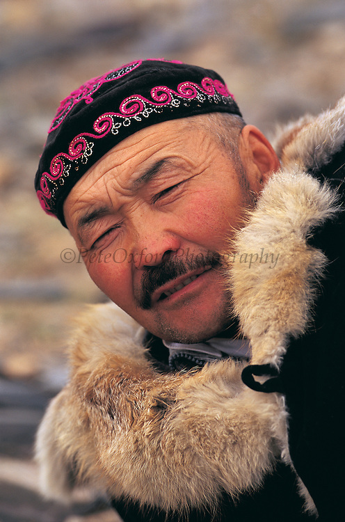 Kazakh in traditional hat<br /> round, embroidered. Kazakh's never wear head bare<br /> Mongolia's largest ethnic minority<br /> Bayan Ulgii<br /> Western Mongolia