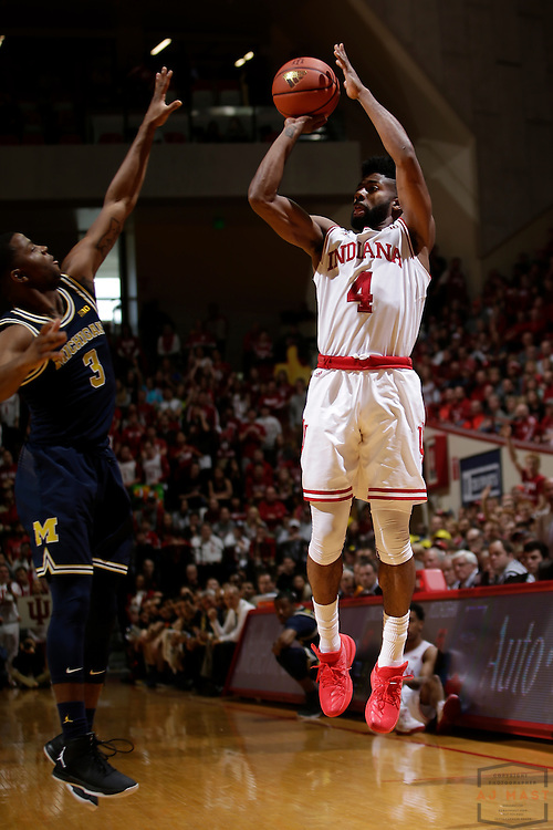 Indiana guard Robert Johnson (4) in action as Michigan played Indiana in an NCCA college basketball game in Bloomington, Ind., Sunday, Feb. 12, 2017. (AJ Mast)