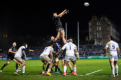 Mike Williams of Bath Rugby rises high to win lineout ball - Mandatory byline: Patrick Khachfe/JMP - 07966 386802 - 06/12/2019 - RUGBY UNION - The Recreation Ground - Bath, England - Bath Rugby v Clermont Auvergne - Heineken Champions Cup