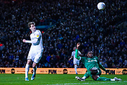 Leeds United forward Patrick Bamford (9) takes a shot over during the EFL Sky Bet Championship match between Leeds United and Sheffield Wednesday at Elland Road, Leeds, England on 11 January 2020.